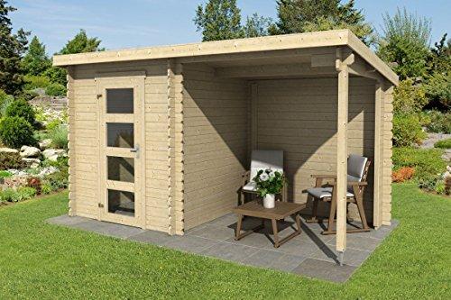 *Gartenhaus G241 – 28 mm Blockbohlenhaus, Grundfläche: 6,48 m², Pultdach*