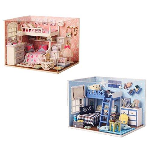 lahomia Juego de 2 Miniaturas de Casa de Muñecas de Madera DIY Decoración de Habitación de Muñecas Manualidades Juguete Regalo