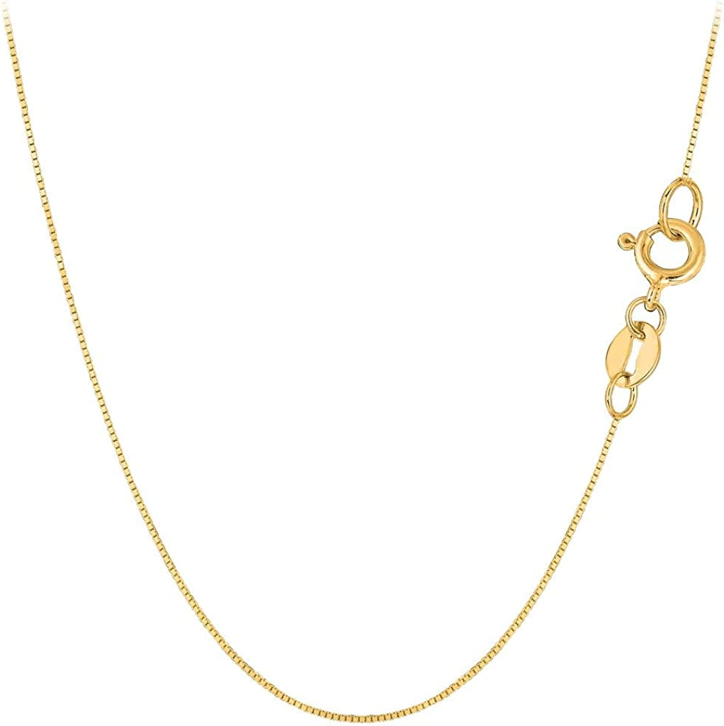 10K Yellow or White or Rose/Pink Gold 0.60mm Shiny Classic Box Necklace Chain For Pendants and Charms for Women and Girls with Spring Ring Clasp (13