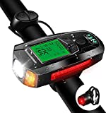 Bike Light Set with Bike Speedometer,USB Rechargeable Bicycle Computer with Loud Bike Bell,Taillight 5...