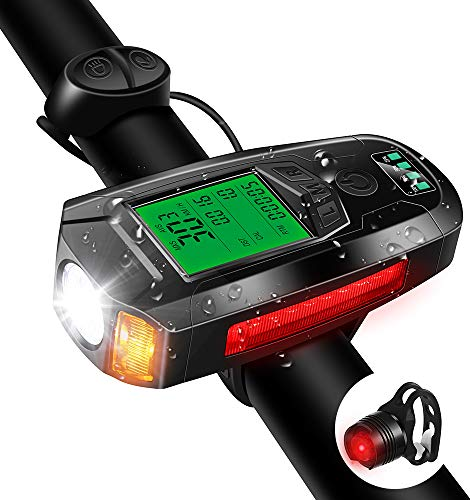 Bike Light Set with Bike Speedometer,USB Rechargeable Bicycle Computer with Loud Bike Bell,Taillight 5 Lighting Modes Cycling Flashlight Commuter- Riding Hiking Camping All Mountain & Road Bike