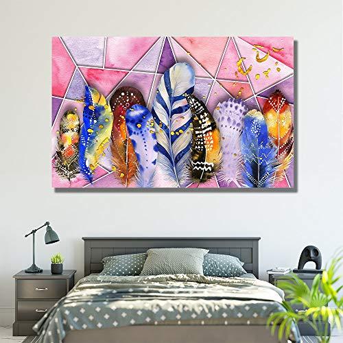 ganlanshu Rahmenlose Malerei Große Leinwand Leinwand Stillleben Bunte Feder abstrakte Malerei Wohnzimmer Moderne WandkunstZGQ3764 40X67cm