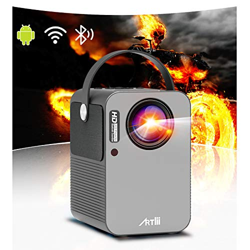 Portable Projector - Artlii Play Android TV 9.0 Smart WiFi Bluetooth Projector Support 4K, ±45°4D Keystone Correction, HiFi Dolby Stereo, HD Projector for Home Entertainment