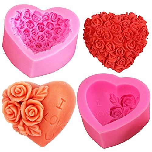2 Pezzi Stampo 3D in Silicone Fiore Grande Rosa Stampi in Silicone 3D a Forma di Cuore di Fiori di Rosa Fiore Stampo in Silicone Stampino per Uso Stampo in Silicone a Forma di Fiore a Forma di Rosa