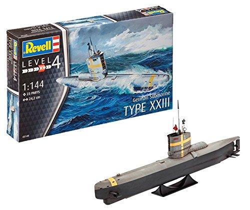 Revell 05140 12 Spielzeug Modellbausatz German Submarine Type XXIII im Maßstab 1:144, Level 4, grau