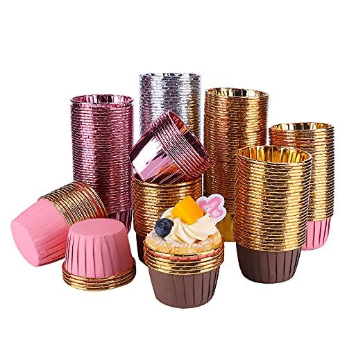 Tanshtechy 250 piezas Papel para Magdalenas, Aluminio Muffin Papel Magdalenas, moldes para pastelería, Moldes de Papel para Magdalenas, Papel para Cupcakes (5 Colores)(golden)