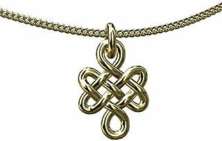 PPLuxury 14K Yellow Gold Buddhist Eternal Endless Love Knot Pendant Necklace