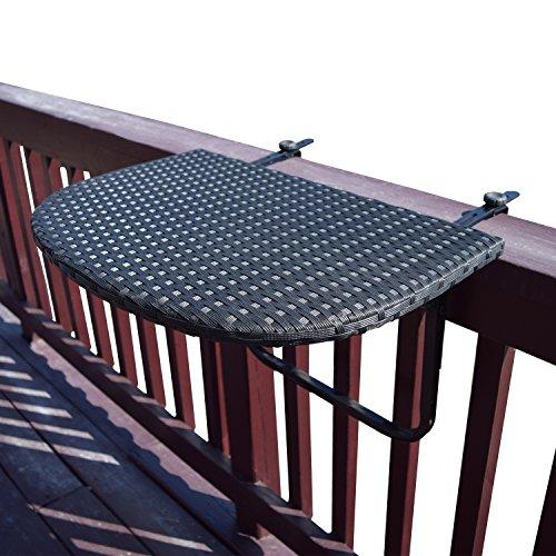 Oakland Living Balcony Railing Wicker Table, Black