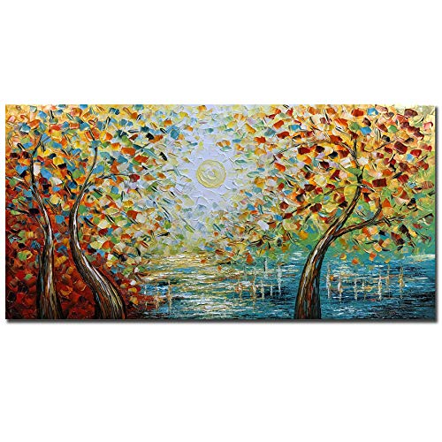 V-inspire Art,24x48 Inch Modern Hand painted Tree Art Abstract Oil Painting On Frame 3d Canvas Landscape Wall Art For Living room Bedroom Decorations Acrylic Art Wall Decor