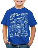 style3 DMC-12 Cianotipo Camiseta para Niños T-Shirt Fotocalco Azul, Color:Azul, Talla:128