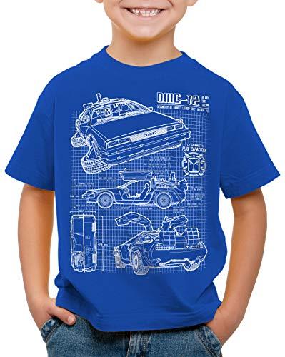 style3 DMC-12 Bleu T-Shirt pour Enfants, Couleur:Bleu, Taille:140