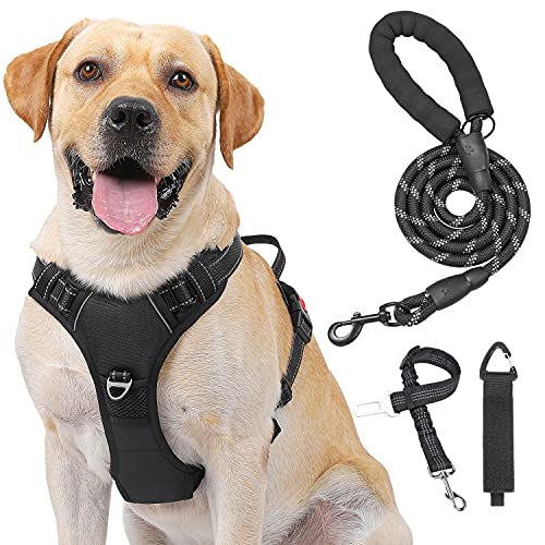 Kindacoool Dog Harness, No Pull No Choke Front Lead Harness, Reflective Adjustable Soft Padded Vest with 5FT Dog Leash, Seat Belt and a Storage Strap, Dog Vest for Small Medium Large Dogs (L, Black)