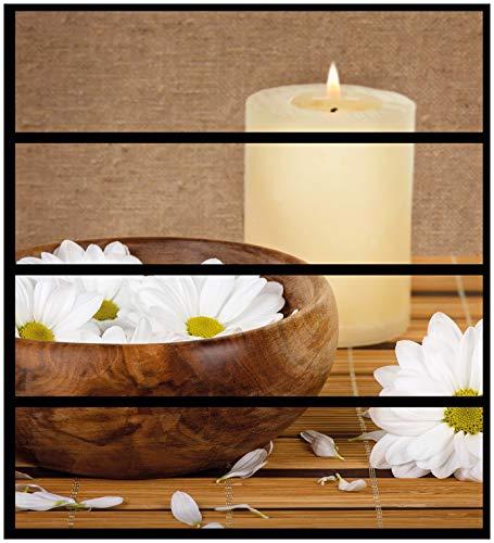 Wallario Möbelfolie/Aufkleber, geeignet für IKEA Malm Kommode - Stillleben - Kerzen und Blumenblüten in Holzschale mit 4 Schubfächern