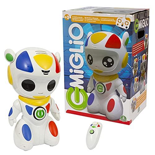 Emiglio - Robot il Compagno per mille avventure, con luci e suoni, voice changer, sensore di sensibilità, con movimento in 8 direzioni, per bambini a partire dai 3 anni, Giochi Preziosi, MGL00000
