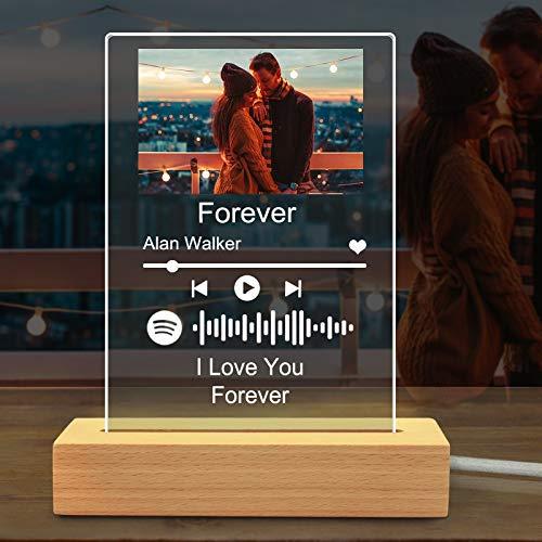 luce notturna Spotify Personalizzata con foto,Acrilica targa spotify musicale personalizzato,Copertina album Lampada da tavolo