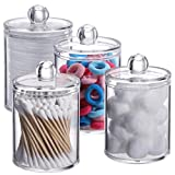 Tbestmax 4 pcs Qtips Holder Bathroom Container, 10 OZ Apothecary Jar, Cotton Ball/Swabs Dispenser Organizer for Storage