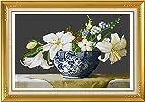 Kit de punto de cruz para adultos-DIY Cross Stitch estampado costura patrón de bordado-Cross Stitch costura a mano artesanía regalo-11CT Lienzo preimpreso 40x50cm- Perfume Lily (2) (bordado completo)