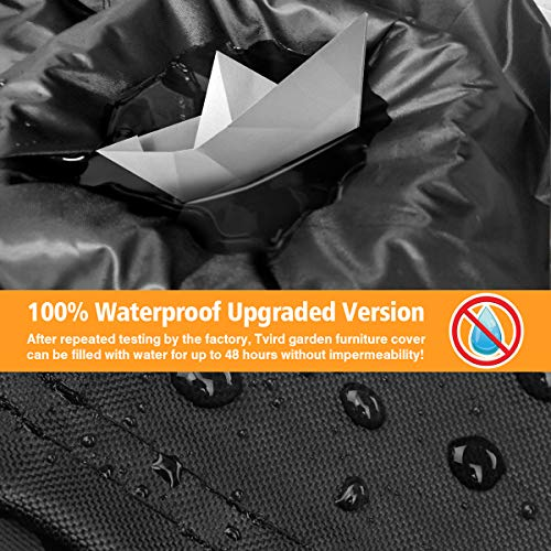Tvird Garden Furniture Covers, Patio Furniture Covers Waterproof Heavy Duty 600D Oxford Fabric Outdoor Garden Table…