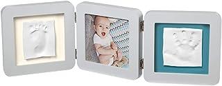 Baby Art My Baby Touch Set de Marco triple para fotos y 2 Huellas de bebé en Arcilla, Recuerdo de las huellas de mano y pie, color blanco