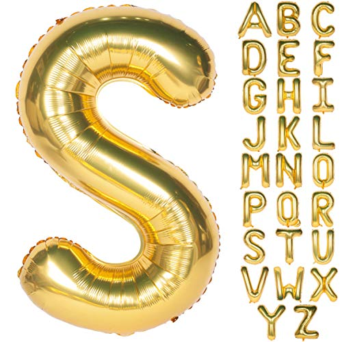 Letter Balloons 40 Inch Giant Jumbo Helium Foil Mylar for Party Decorations Gold S