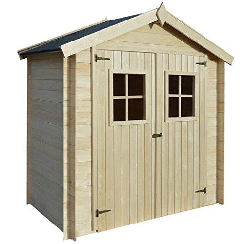 Tidyard Gartenhaus | Holzhütte | Gartenhütte Holz | Geräteschuppen | 2 x 1 m 19 mm, Garten Holzhaus | Blockbohlenhaus für Gartengeräte Aufbewahrung