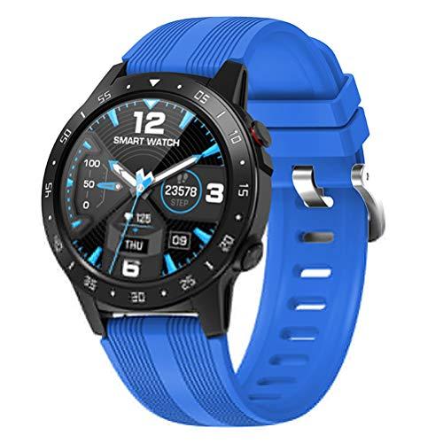 KDLK Reloj Inteligente Pantalla Completa Frecuencia cardíaca Presión Arterial Reloj Deportivo Altímetro Barómetro Brújula iOS Android (Color : Blue)