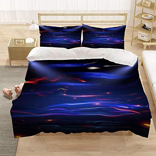 Bedclothes-Blanket Copripiumino Matrimoniale,,,Coperchio Piumino 3D Color Color Cover Cover con Chiusura a Cerniera e Chiusura (1 Copripiumino + 2 Pillowcases)-8_210 * 245 cm.