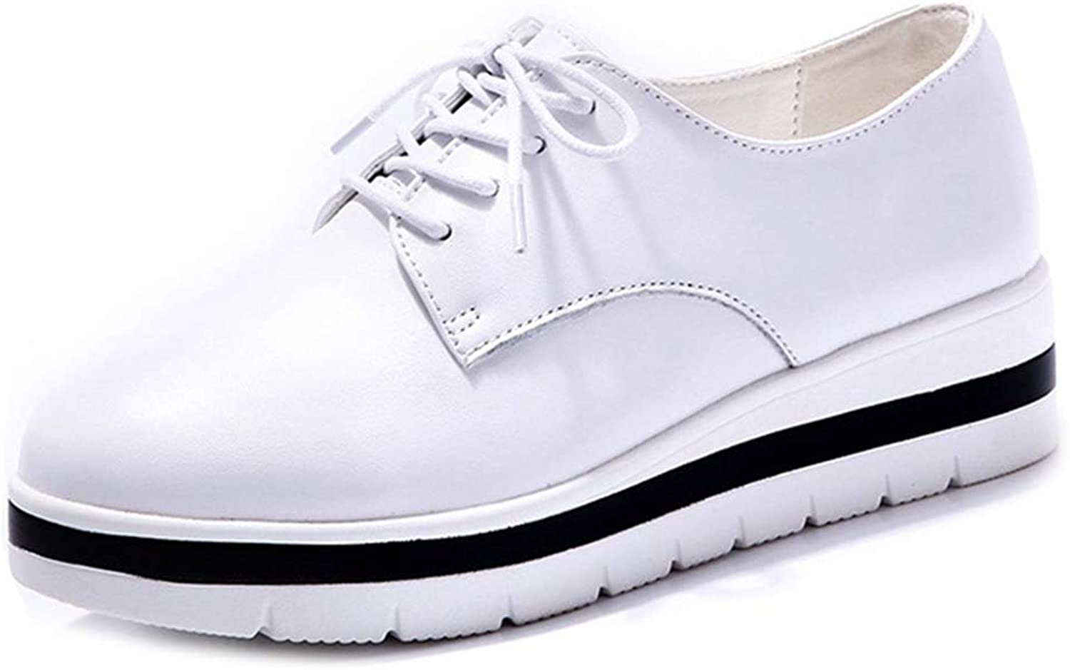 GIY Women's Platform Oxford shoes Wingtip Lace Up Chunky Mid Heel Casual Comfy Dress Wedge Oxfords