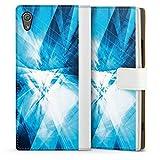 DeinDesign Klapphülle kompatibel mit Sony Xperia XA1 Handyhülle aus Leder weiß Flip Case Kristall Spiegel Linien