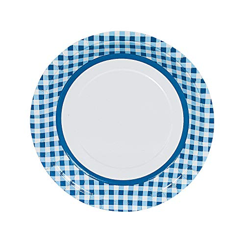 Fun Express - Blue Gingham Dinner Plates (24pc) - Party Supplies - Print Tableware - Print Plates & Bowls - 24 Pieces