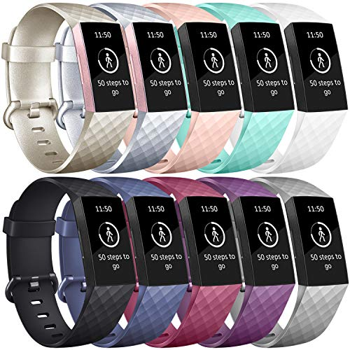 AK Fitbit Charge 3 Correa de Reloj, Banda de Reemplazo Silicona Suave Accesorio Sports Pulsera para Fitbit Charge 3/Charge 3 SE Fitness Smart Watch Pequeño Grande (Z 10 Pack-3, Large)