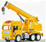 Kwizean Pull Back Vehicles Crane Toy for Kids, Friction Power Toy Trucks for 3+ Years Old Boys and Girls, Light & Sound Truck Toy for Kids with 4 Wheels, Yellow
