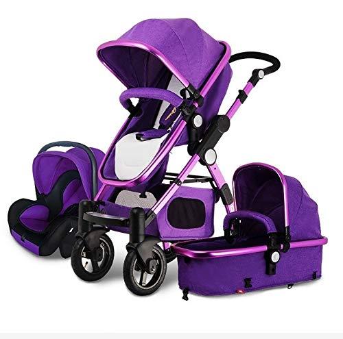 QJY 3 in 1 Baby kinderwagen voor pasgeboren -Compact Single Baby Carriage Peuter Strolle Quick Fold Baby Carriage Design Luxe wandelwagen Baby kinderwagen Paars