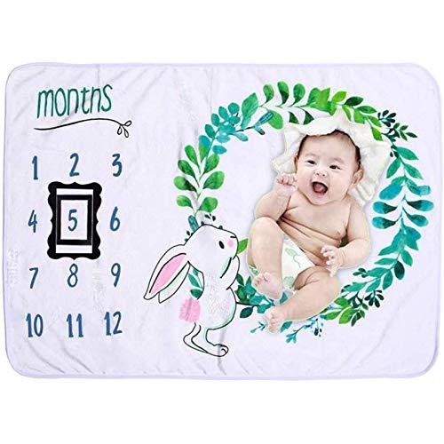 Manta de Bebé Manta Mensual de Hito para Bebé + 2 Marcos Negros de Tela no Tejida Regalos Personalizados para Recuerdo de Bautizo Baby Shower