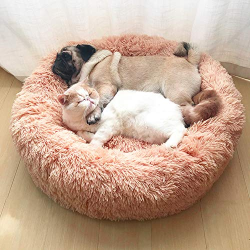 LONTG Calming Cat Bed Dog Bed Donut Pet Bed Fluffy Plush Pet Bed Cushion Cuddle Cozy Pet Nest Pet Sofa Round Basket Bed Sleeping Bed Mat For Small Medium Dogs Cats Kitten Puppy Non-Slip Bottom 60cm