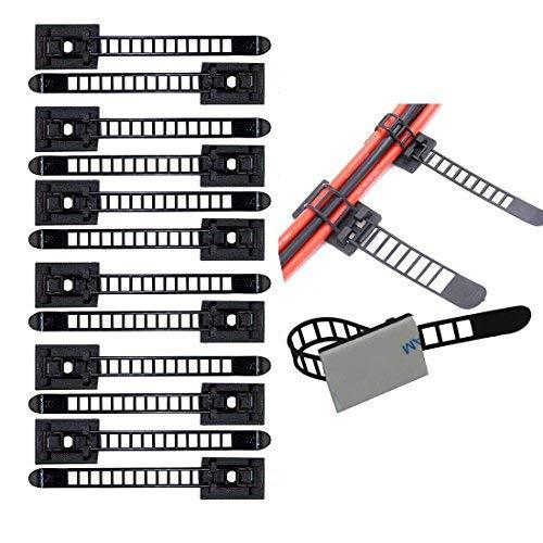 Verstellbare Kabelhalter Set Management,Kabel Clips von Kabelbefestigung Drahthalter mit Klebstoff Gesicherte Unterlage
