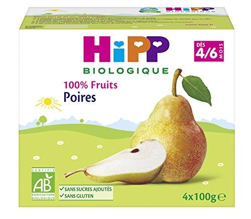 Hipp Biologique 100% Fruits 3 Variétés Dès 4/6 Mois - 6 packs de 4 coupelles de 100 g