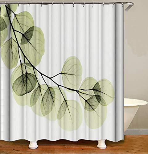 Minimalistic-Grüngelb verlässt auf weißem Hintergr& Hochwertiger, abriebfester, wasserdichter, schnell trocknender Duschvorhang für das Badezimmer