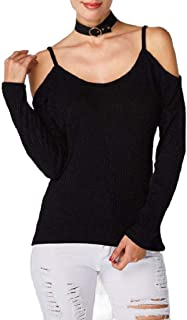 Hokny TD Women's Cold Shoulder Loose Casual Knitted Sweater Tops