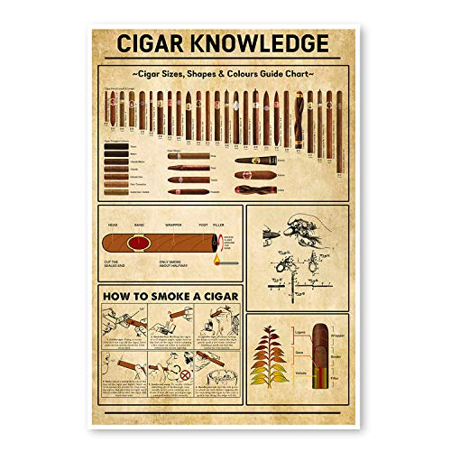THITHO STORE Cigar Knowledge in The Bathroom - Funny Bathroom Print Poster White - Satin Portrait Poster Wall Art Home
