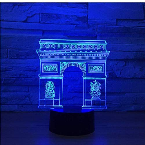 3D Nacht Licht Frankrijk Arc De Triomphe Poort Gebouw Led Led Kleurrijke Nachtlampje RGB Lamp Slapende Verlichting Kind Kids Speelgoed Geschenken