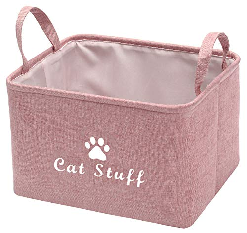 Pethiy Canvas Cat Toy Basket Basket for Cat Stuff Dog/cat Toys,cat Blanket, cat Clothes Storage -38cm(15in) x 27cm(10.5in) x 25cm(10in)-Pink-Cat Stuff