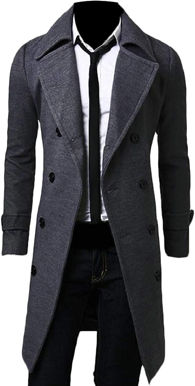 TD-CACA Mens Double-Breasted Slim Autumn Wool Coat Overcoat Outwear