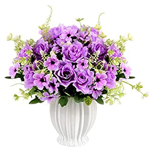 Artificial Gardenia Flowers with Ceramics Vase, Silk Flower Arrangements, Fake Flowers in Vase for Homes Offices Dinning Roon Table Kitchen Desktop Decorate (Purple)