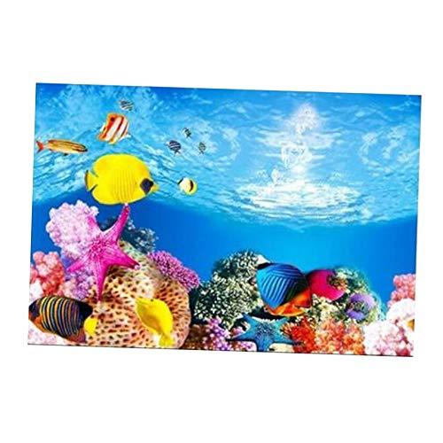 Fenteer Aquarium Fond Fish Tank Autocollant Papier Peint Décoration Photo PVC Adhésif sous-Marine Affiche Contexte Décor Photos, Facile à Appliquer et à - 50x82cm