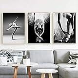 VVSUN HD Imprime imágenes Estilo nórdico Bailarina de Ballet Cartel Negro más Blanco Lienzo Pintura Arte de la Pared Sala de Estar decoración del hogar 40x60 cm 16x24 Pulgadas x 3 sin Marco