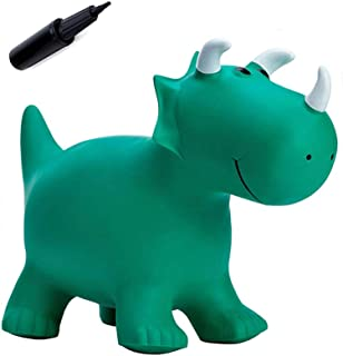 Babe Fairy Jumping Horse with Pump-Bouncy Horses Animals Hopper-Toddlers Inflatable Bouncing Horse Toys (Green Dinosaur)