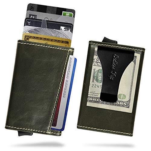 Endless Trip カードケース メンズ 本革 レザー マネークリップ RFID スキミング防止 スライド式 カードホルダー 軽量 コンパクト 大容量 最大7枚収納 ET-MCC01 (DARK GREEN)