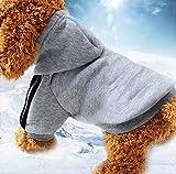 Mignon Chien Vêtements À Capuche Vêtements pour Animaux De Compagnie Manteau De Chien Doux Vêtements pour Animaux De Compagnie 11-13Kg Gris