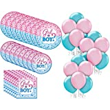 Party City Gender Reveal Tableware Kit for 32 Guests, Party Supplies, Includes Balloons